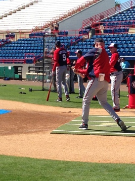 Matt Williams hits grounders to infielders during the informal position players workout on Sunday.